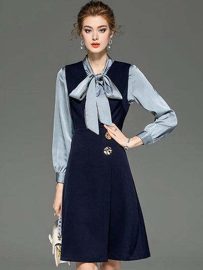 Bowknot Tie Lacing Single Breasted Two Piece Shirt Skater Dress