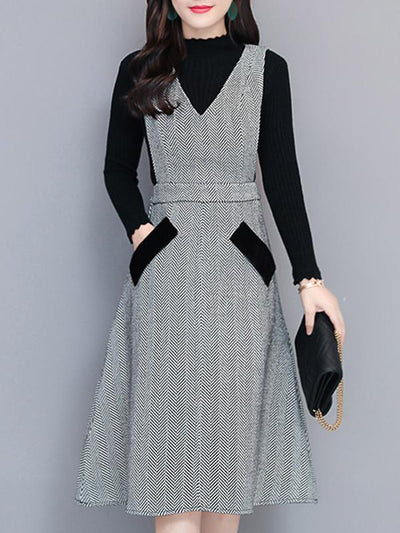 Woolen Two Piece Houndstooth Skater Dress