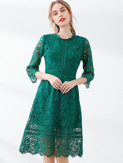 Vintage Lace Print Stitching Jacquard Multicolor Skater Dress