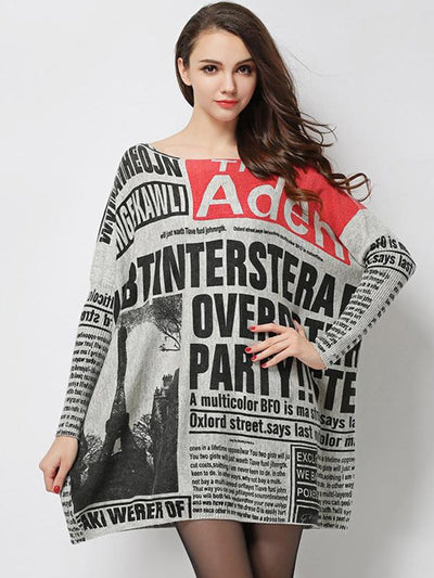 Simple Letter Printting Oversize Knit Shift Sweater Dress