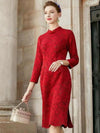 Elegant Red Cheongsam Hollow Out Lace Bodycon Dress