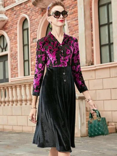 Elegant Velour Print V-neck Sheath A-line Dress