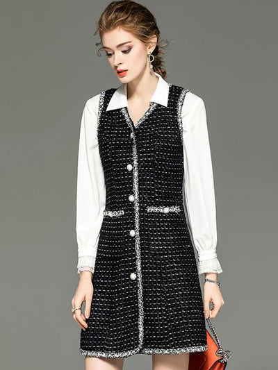 Chic Single Breasted Plaid Jumper Skirt Stitching Lace Shift Dress