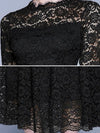Vintage Lace Crochet Print Perspective Big Hem Skater Dress