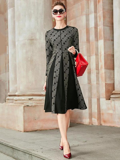 Fashion Print Black V-neck Big Hem Skater Dress