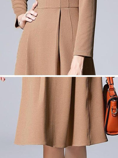 Elegant Stripe Gathered Waist V-Neck Long Sleeve Skater Dress
