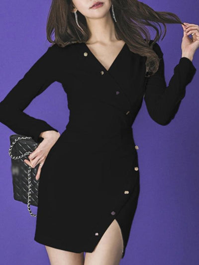 Sexy Long Sleeve V-Neck Single Breasted Slit Bodycon Dress