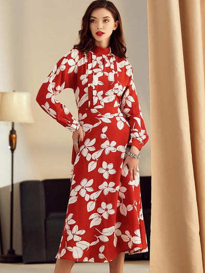 Fashion Stand Collar Hit Color Drape Printing Skater Dress