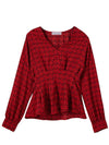 French Style Plaid Falbala V-Neck Long Sleeve Blouse