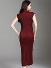 Aristocratic Slim Slit Fishtail Pure Color Bodycon Maxi Dress