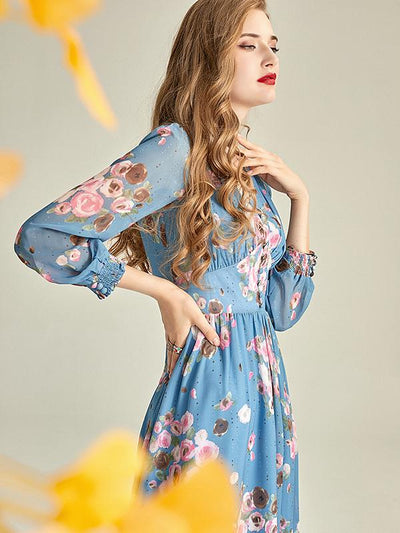 French Style Vintage Fastener Gathered Waist Floral Maxi Dress
