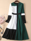 Abstract Color-Block Crew Neck A-Line Stitching Skater Dress