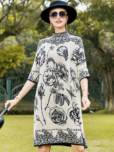 Fashion Oversize Print Stand Collar Hit Color Shift Sweater Dress
