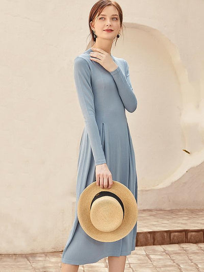 French Style Pure Color Slim Pleated Knit Sweater Dress