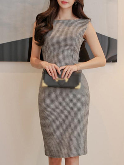 Fashion Houndstooth Slit O-Neck Sleeveless Plaid Bodycon Dress