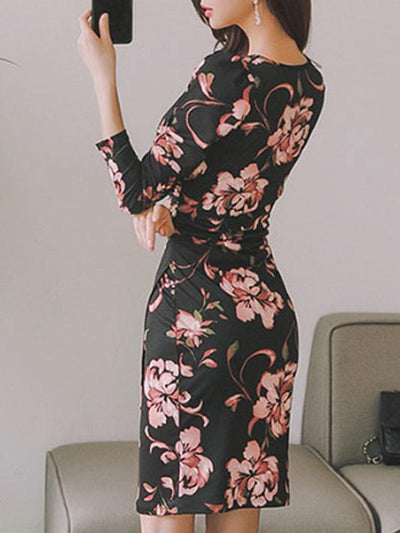 Aristocratic Print V-Neck Pleated Gathered Waist Bodycon Dress