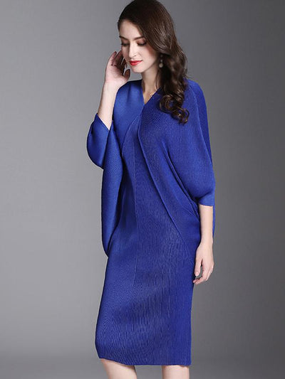 Casual Oversize Multicolor Batwing Sleeve Irregular Shift Dress