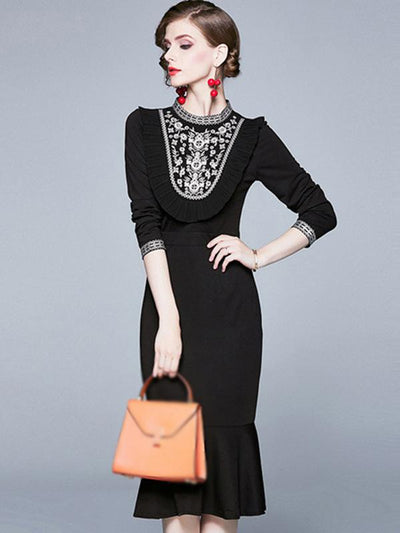 Fashion Embroidery Stand Collar Stitching Print Bodycon Dress