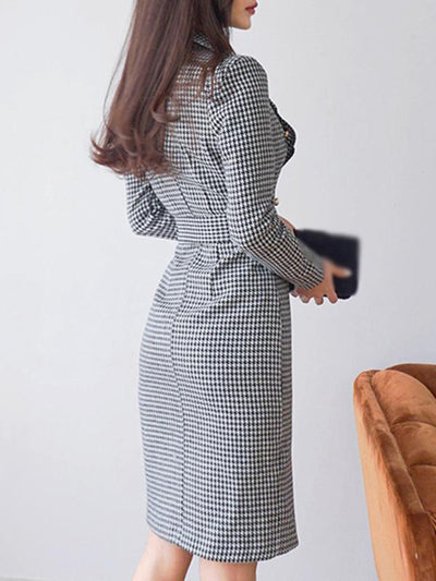 Work Houndstooth Lapel Collar Belted Bodycon Dress