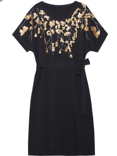 Embroidery Print Drawstring Belted adjustable Shift Dress