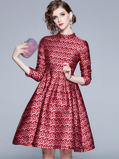 Aristocratic Print Stand Collar Jacquard Skater Dress