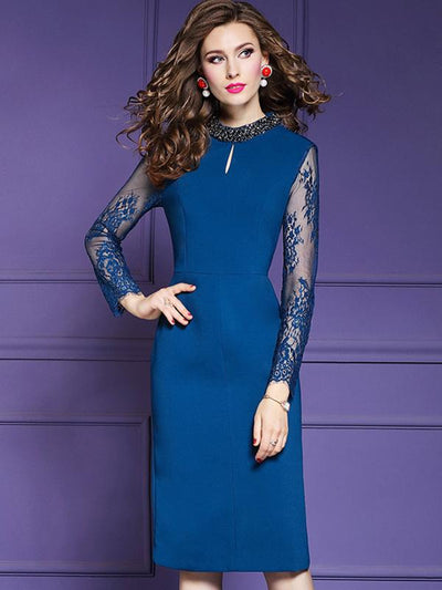 Styleonme Stitching Lace Print Beading Bodycon Dress