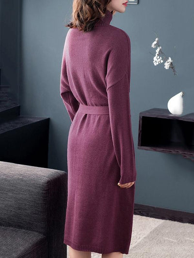 Brief Slit Bowknot Belted Pure Color Sweater Dress
