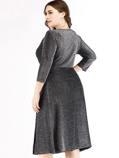 Sexy Oversize Pleated Gathered Waist Bodycon Dress