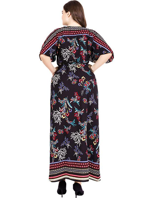 Oversize Belted Drape Lacing Print Maxi Dress