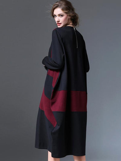 Abstract Oversize Color-Block Pocket Shift Dress