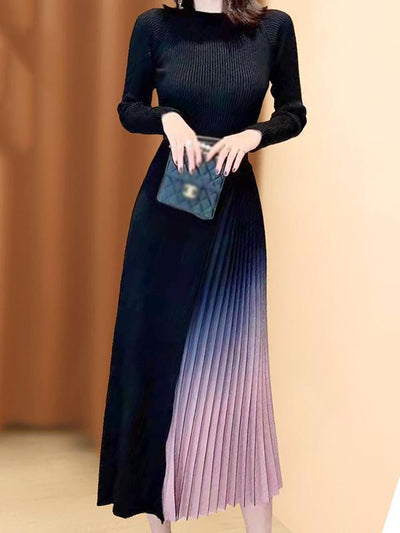 Fashion Chiffon Stitching Knit Sweater Dress(Without Belt)