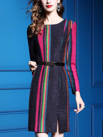 Fashion Work Stitching Rainbow Stripe Bodycon Dress(Without Belt)