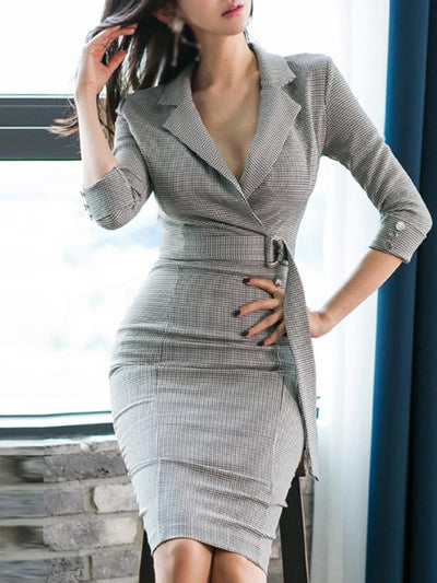 Styleonme Belted Deep V-Neck Houndstooth Bodycon Dress