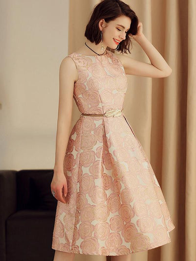 Elegant Jacquard Print Embroidery Skater Dress(Without Belt)