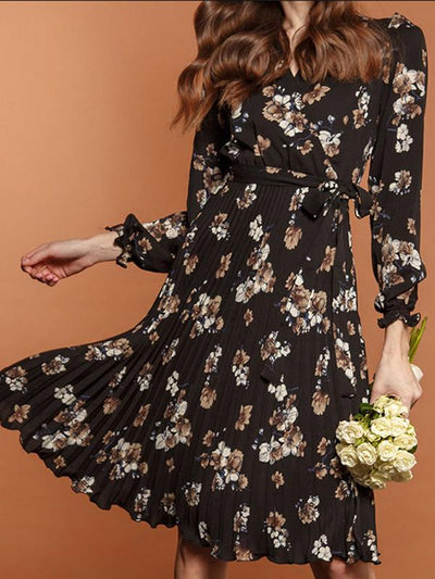 Fashion Print Drape Lacing Belted Skater Dress