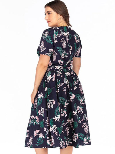 Vintage Oversize Print Pocket Skater Dress