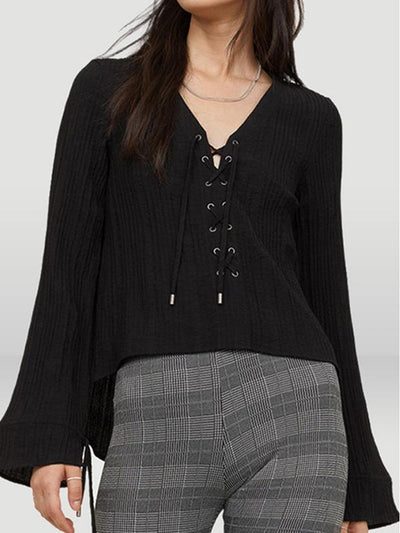 Brief Cross Drawstring Lacing Solid Blouse