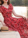 Bohemian Big Hem Red Floral Chiffon Maxi Dress