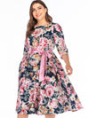 Partysu Oversize Bowknot Lacing Belted Print Skater Dress