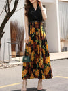 Holiday Chiffon Stitching Print Elastic Waist Maxi Dress(Without Belt)