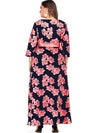 Party Oversize Bowknot Lacing Belted Print Maxi Dress
