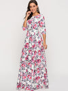 Bohemian 3/4 Sleeve Flower Print Floor  Maxi Dress