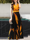 Cross Collar Pleated Stitching Hit Color Print Maxi Dress