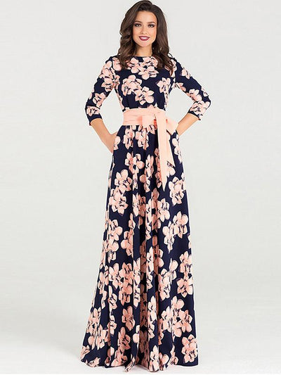 Vintage Print Bowknot Lacing Floor Maxi Dress
