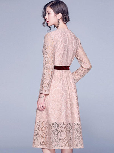Styleonme Stitching Crochet Lace Print Skater Dress