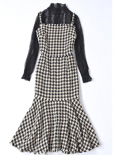Fashion Two Piece Lace Fishtail Houndstooth Bodycon Dress