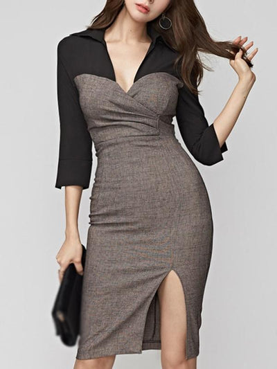Sexy Color-Block Slit Deep V-Neck Bodycon Dress