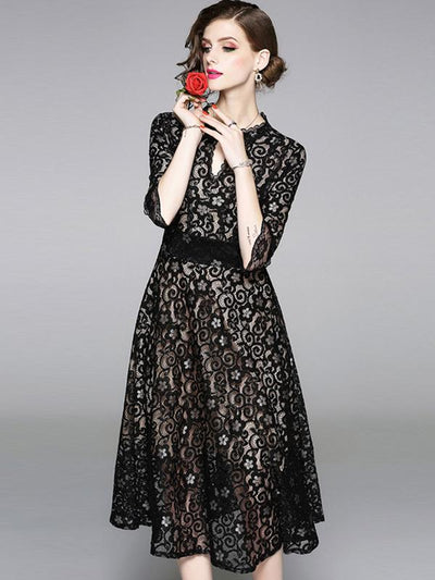 Partysu Hollow Out Lace Print Maxi Dress