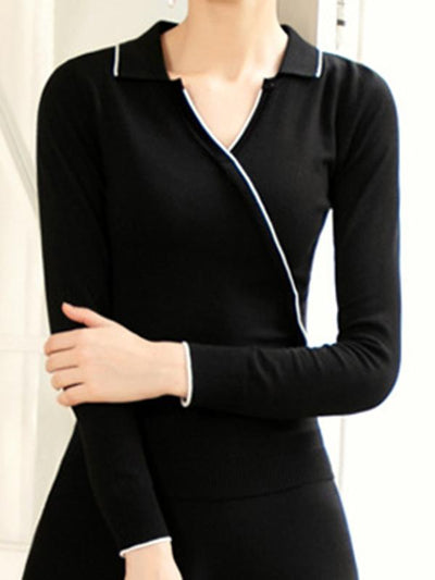 Casual Hit Color Two Piece Knit Sweater Dress