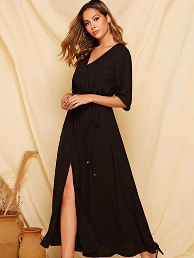Sexy Slit Solid Elastic Drawstring Maxi Dress